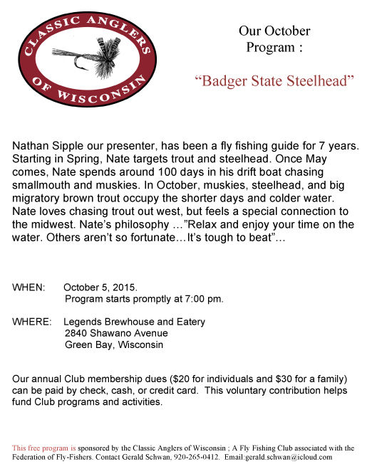 Classic anglers October Program